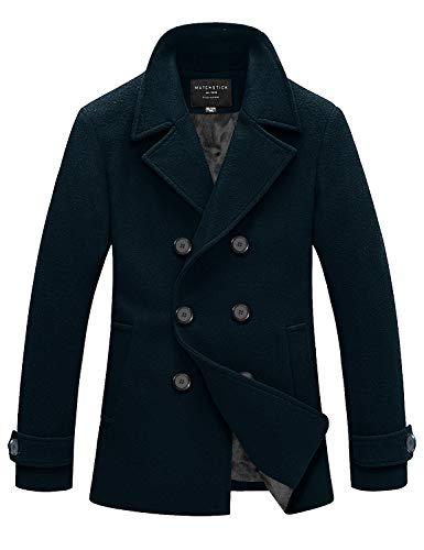 Match Mens Wool Blend Classic Pea Coat Winter Coats(010, Navy Small)