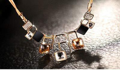 - FidgetFidget Retro Austrian Diamond Crystal Geometrical Shape Charm Neckless