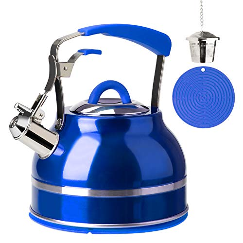 Secura Whistling Tea Kettle, 2.3 Qt Tea Pot, Stainless Steel Hot Water Kettle for Stovetops with Silicone Handle, Tea Infuser, Silicone Trivets Mat, Blue reviews