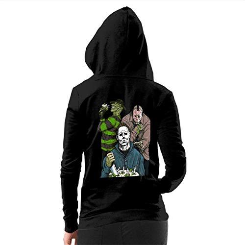 Rigg-hoodie Women's Slashy Birthday Michael Myers Jason Classic Zip-up Hoodie Hoodies Black L ()