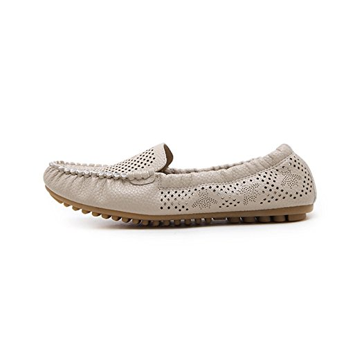 Moccasin Flat Perforated Round Ons Apricot Toe Womens Shoes Loafers Casual Driving Slip JULY T q06Cxw7Un