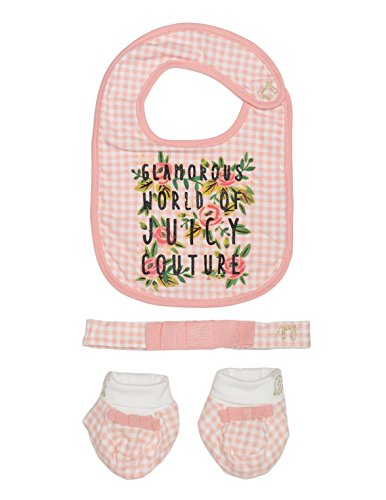 Juicy Couture Baby Girl's 3 Pc Gift Set Bib, Headband & Booties, Light Coral