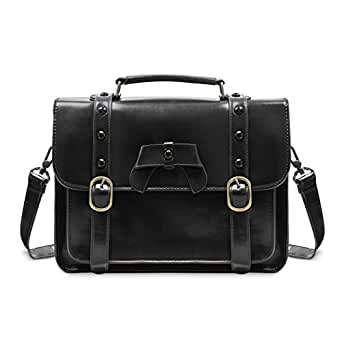 ECOSUSI Vintage Crossbody Messenger Bag Satchel Purse Handbag Briefcase for Women & Girl, Black