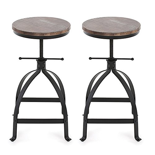 iKayaa Vintage Swivel Bar Stool, Retro Kitchen Dining Breakfast Chairs, Natural Pinewood Top, Set of 2 Industrial Bar Stools (Breakfast Bench Stools)
