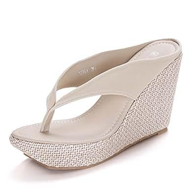 64e1c5575 Vie Jeune Women High Heels Flip Flops Wedges Shoes Sandals Fashion Platform Wedges  Sandals Bohemia Beach