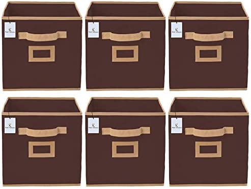 Metrey Non Woven 6 Pieces Small Foldable Storage Organiser Cubes/Boxes (Coffee)