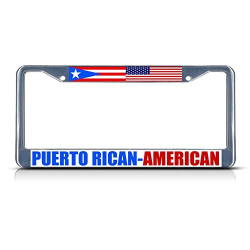 Puerto Rican American Metal License Plate Frame Tag Border Two Holes Perfect for Men Women Car garadge Decor