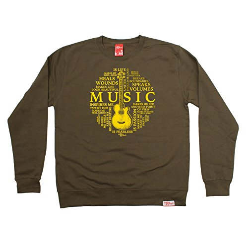 Price comparison product image BM Music Is My Life Guitar Design Band Jumper Acoustic Electric Bass Drums Drummer Mic Album Record Lyrics Birthday Gift Christmas Present SWEATSHIRT
