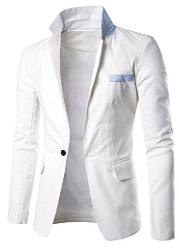 [Macondoo Men Single-breasted Peaked Lapel Blazer Jacket Sport Coat White L] (Linen Single Breasted Sport Coat)