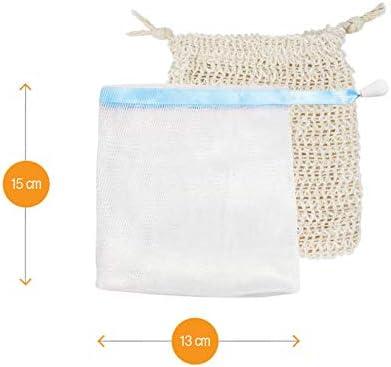 8 praktische Seifens/äckchen zum gr/ündlichen Einsch/äumen mit Seife und Seifenresten 6 x Nylon | 2 x Sisal Amazy Seifennetz Set