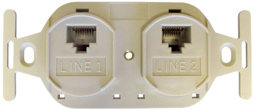Allen Tel Products AT106AFD-52 2 Ports, USOC Wiring, IDC Termination, 110, 2-8 Conductor, 8 Position Duplex Flush Outlet Jack, Electric Ivory ()