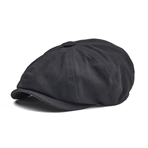Canvas Newsboy Cap - BOTVELA Men 8 Panel Newsboy Cap Light Washed Cotton Canvas Gatsby Retro Golf Hat (Black, M)