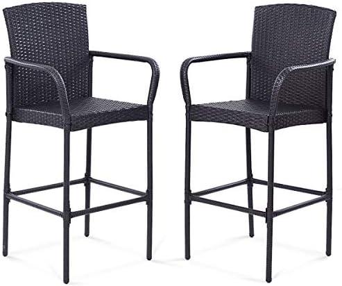 Tangkula Set of 2 Patio Bar Stools Indoor Outdoor Use Wicker Rattan Barstool - a good cheap outdoor bar stool