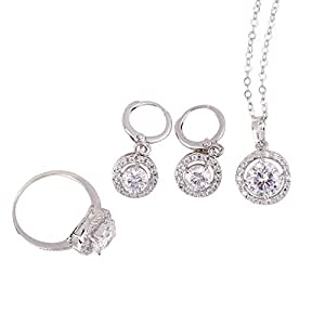 Yesfor New 18K Gold Festival Gift Platinum Plated Bridal Jewelry Sets For Woman (7)