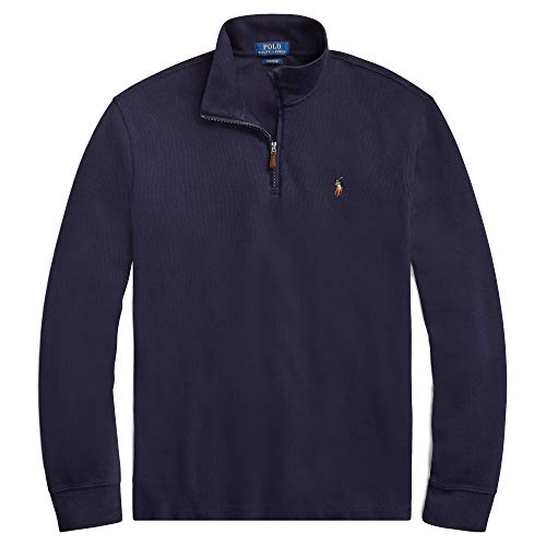 (Polo Ralph Lauren Men's Big & Tall Fleece 1/2 Zip Mock Sweater-RLNavySigPony-XLT)