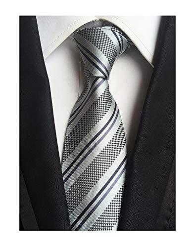 Men's Boy Junior Ties Softness Amazing Silk Grey Stripe Luxury Wedding Neckties -