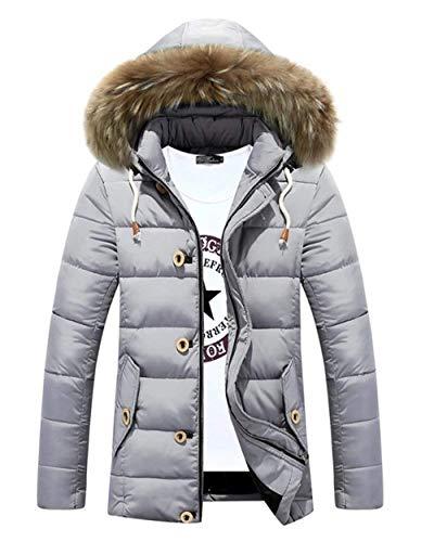 Pelliccia Pelliccia Pelliccia Da Ragazzi Coat Classiche Coat Warm Hooded Invernale Giacca Addensare Grau Piumino Parka Jacket Cappuccio In Con Longsleeve Da Uomo SSRqdwY