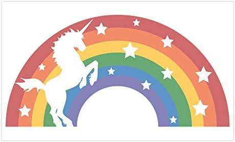 Retro Rainbow Unicorn Sticker Rectangle Bumper Sticker Car Decal CafePress