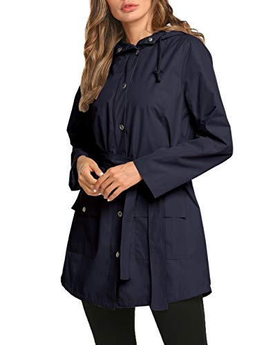 Women's Rain Trenchcoat Waterproof Lightweight Nylon Lined Rain Resitant Anorak for Fall Outdoor Active(Navy Blue,XXL)