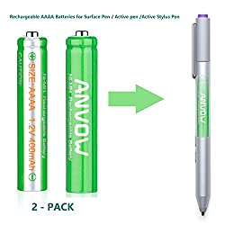 AAAA Batteries, ANVOW Rechargeable AAAA Batteries for Surface Pen, Rechargeable AAAA battery for Active Stylus, Ni-MH 1.2V 400mAh With Storage Box (2-Pack)