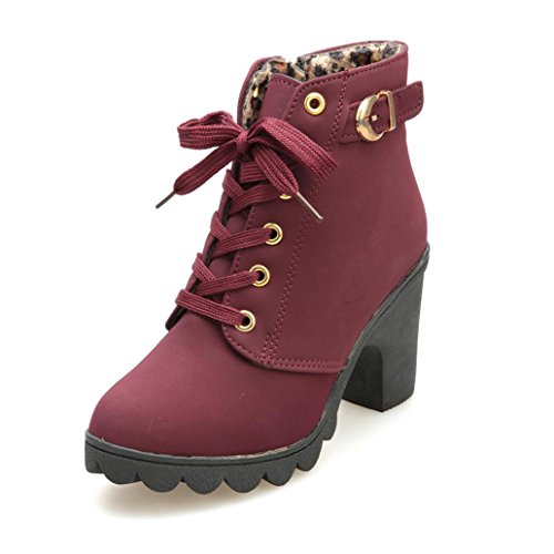 Botas Mujer,Ouneed ® Forme a mujer el alto talón ata para arriba el tobillo abotona los zapatos de la plataforma de la hebilla Rojo