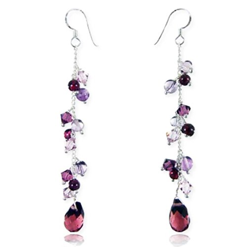 925 Sterling Silver Lavender Purple Swarovski Crystal Beads Long Drop Dangle Earrings