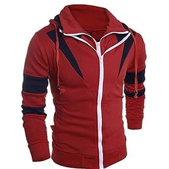 5a43c5cdab7c Clearance Balakie Mens Retro Long Sleeve Patchwork Hoodie Zipper Sweatshirt  Tops(
