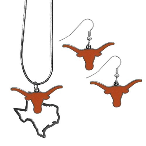 Texas Longhorns Gift Set - Siskiyou NCAA Texas Longhorns Dangle Earrings & State Necklace Set