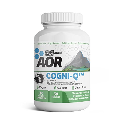 Advanced Orthomolecular Research - Cogni-Q, Antioxidant Support for Brain and Mitochondrial Health, Energy, and Healthy Aging with PQQ and CoQ10, Vegan, Non-GMO, Gluten-Free, 30 Capsules