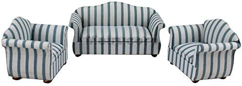 Meirucorp Dollhouse 1/12 Scale Miniature Furniture Simple Style Stripe Living Room Sofa and Chair 3pcset