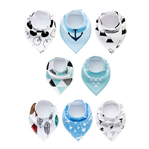 Baby Bandana Drool Bibs 8 Pack Soft Cotton Set for Boy Girl Toddlers Unisex Babys Drooling and Teething by LICY (3 Months to 4 Years Old)