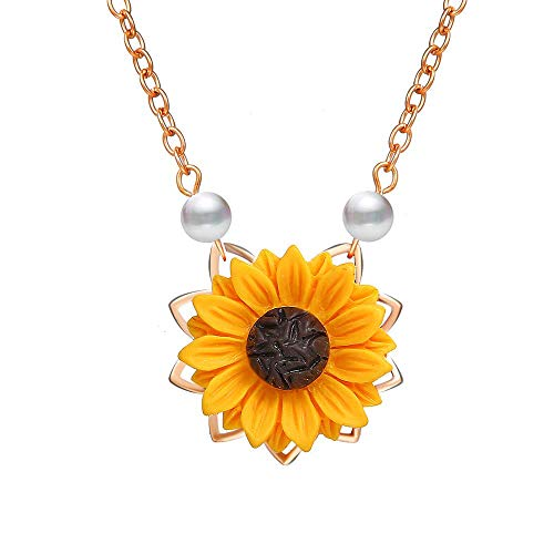 krun Sunflower Pearl Leaf Pendant Necklace Resin Daisy Flower Clavicular Chain Fashion Jewelry for Women