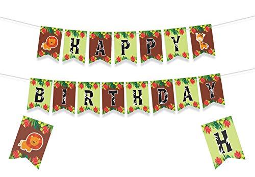 JUNGLE THEMED HAPPY BIRTHDAY BANNER - Baby Animals Decorations - Animal Birthday Party Decorations - Jungle Safari Party Supplies - Animal Baby Shower Decorations - Forest Animals Birthday Party Decor - Forest Theme Birthday Banner - 8*5.5 Inches for $<!--$12.99-->
