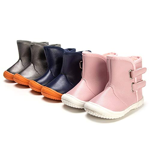 Image of Enteer Baby Soft Rubber Sole Anti-Slip Warm Winter Prewalker Leather Toddler Boots