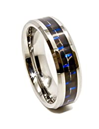 6mm Tungsten Carbide Ring with Black & Blue Carbon Fiber Inlay