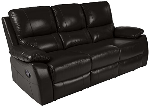 Sofa Top Leather Chair Grain (Homelegance Greeley Reclining Sofa Top Grain Leather Match, Black)