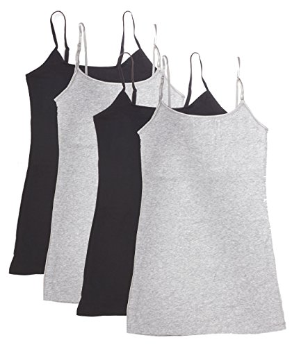 Active Products 4 Pack Women's Basic Tank Top,Black, Black, H Gray, H Gray,1X