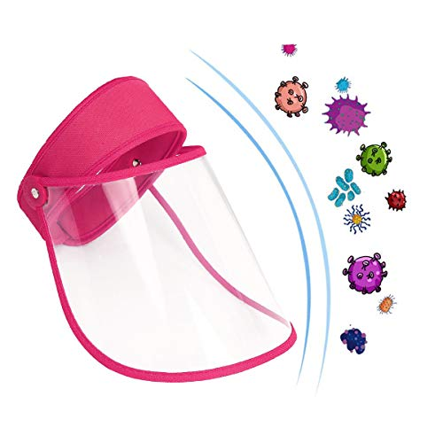 2 Pack Sun Hat with Transparent Sheild Mask, Anti-Saliva Splatter, Dust, Oil, Smoke Protective Hat, Reusable Breathable Visor Windproof Dustproof Hat for Adults (2 pcs Rose)