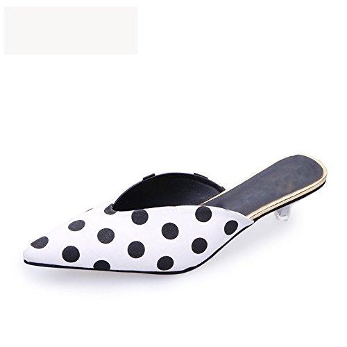 Sandalias Mujeres Tacón Comfort Zapatos Dedo Del Del Alto La De De La Lady Moda En Pu VIVIOO White Zapatillas Vendimia Pie De Ocio Delgado Cuero Talón Slip 6Odqvpw