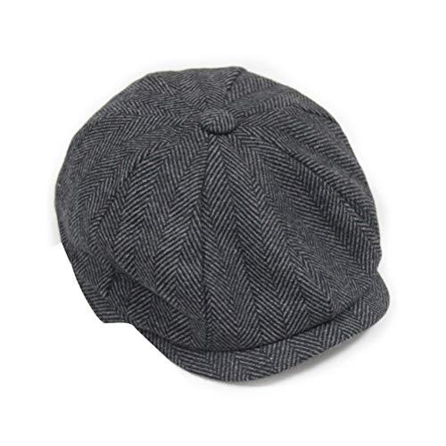 深めるベリ赤面FENICAL メンズウィンターベレキャップ帽子日焼け止めハットWramツイードフラットベーカーボーイハットMサイズ(グレー)