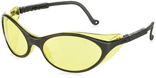 Uvex S1601 Bandit Safety Eyewear, Black Frame, Amber Ultra-Dura Hardcoat - Scratched Repair Mirror