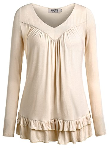 DJT Women's V Neck Long Sleeve Ruched Front T Shirt Blouse Top XX-Large Apricot