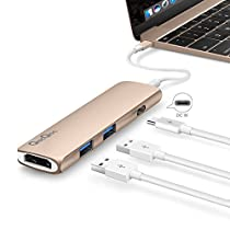 QacQoc GN22B Premium USB Tipo C Multi-puertos con puerto de carga PD, 2 USB 3.0 puertos , 1 HDMI puerto y 1 USB-C Puerto de carga de entrada para nuevo Macbook de 12 pulgadas