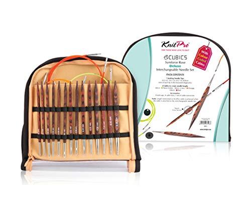 Knitpro Birch Wood Cubics-Symfonie Rose Interchangeable Needle Set