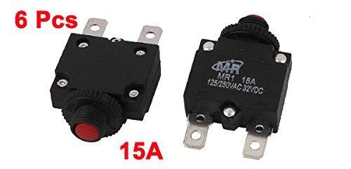 eDealMax 6 piezas de MR-1 Push Button térmica del disyuntor 15A Circult AC 125 / 250V DC 32V - - Amazon.com