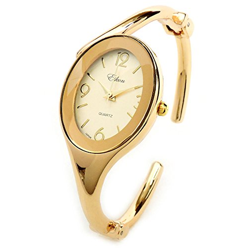 - Oval Face Jewelry Bracelet Women's Hinged Cuff Dressy Bangle Watch (Gold GL)