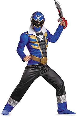 [Disguise Saban Super MegaForce Power Rangers Blue Ranger Classic Muscle Boys Costume, Medium/7-8] (Power Rangers Megaforce Halloween)