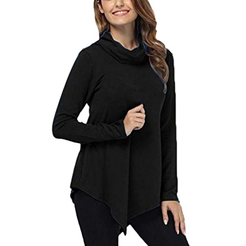 Xinantime Womens Irregular Blouses Solid Color Turtleneck Shirts Slim Casual Long Sleeve Top ()