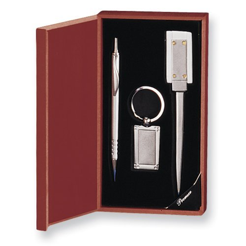 Silver-Tone Key Ring/Pen/Letter Opener 3-Piece Gift Set