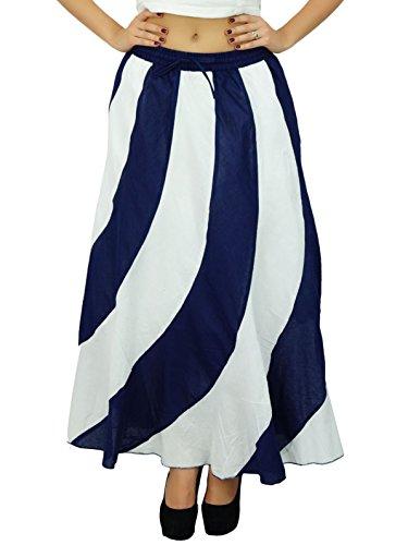 A-line Zip Back Skirt (Bimba Long A-Line Maxi Spiral Summer Skirt Cotton With Back Elastic & Side Zip)